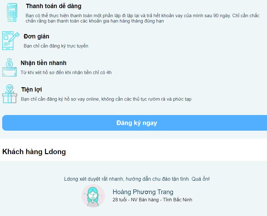 Ldong.vn đăng ký vay tiền