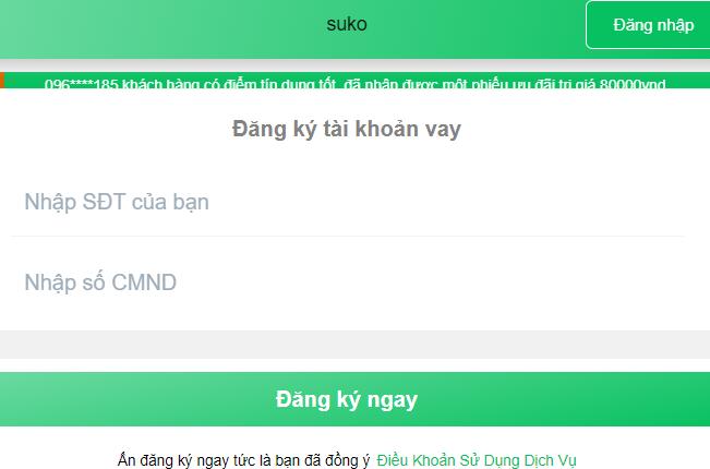 Suko.vn vay tiền cực sốc